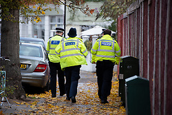 © Licensed to London News Pictures. 07/11/2018. White City, London, UK. Police at the scene of a serious assault in west London. A teenage boy became the latest victim in a spate of knife attacks across the capital. The boy was stabbed this afternoon on Willow Vale, off Uxbridge Road in White City. He is understood to be seriously ill in hospital after being found with life threatening injuries. Within two hours in a separate incident, a man was stabbed in Hackney, east London. Photo credit Guilhem Baker/LNP