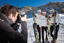 Photographer Daniel Novakovic, Katja Visnar, Barbara Jezersek and Vesna Fabjan during Training camp of Slovenian Cross country Ski team on October 23, 2012 in Dachstein Getscher, Austria. (Photo By Vid Ponikvar / Sportida)