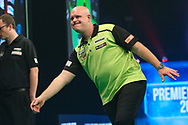 Michael van Gerwen reaction after missing a shot during the PDC Unibet Premier League darts at Marshall Arena, Milton Keynes, United Kingdom on 28 May 2021.