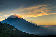 Volcan de Agua in Guatemala with the tip covered in cloud