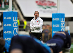 England Head Coach Stuart Lancaster looks on during the pre-match warm-up - Photo mandatory by-line: Patrick Khachfe/JMP - Tel: Mobile: 07966 386802 09/11/2013 - SPORT - RUGBY UNION -  Twickenham Stadium, London - England v Argentina - QBE Autumn Internationals.