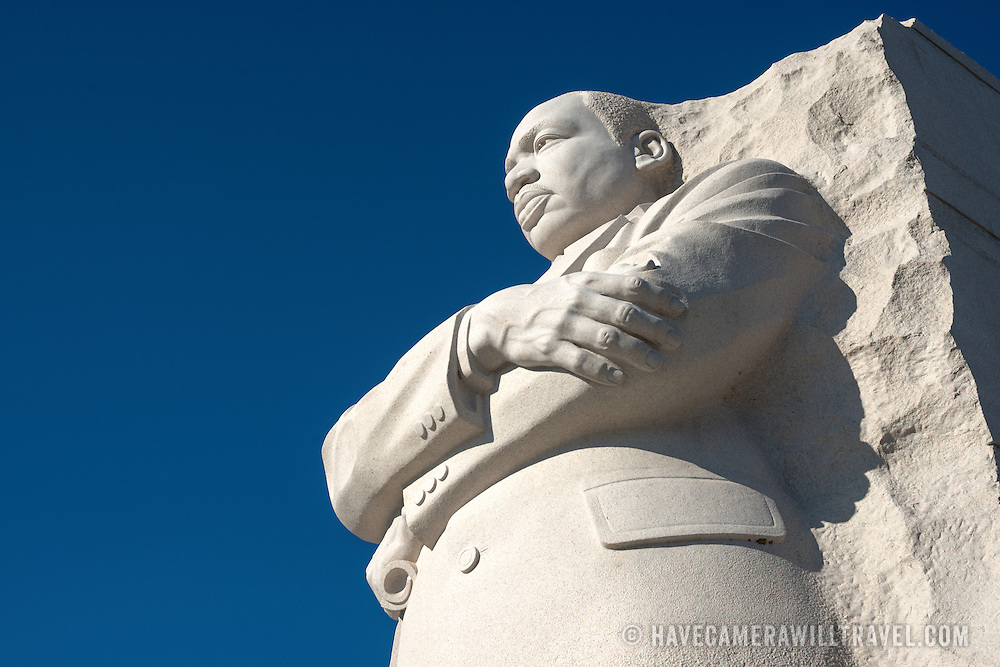 The statue of civil rights leader Dr Martin Luther King Jr emerging out of the Stone of Hope that forms the centerpiece of the MLK Memorial on the banks of the Tidal Basin in Washington DC. The sculpture was created by Chinese sculptor Lei Yixin.