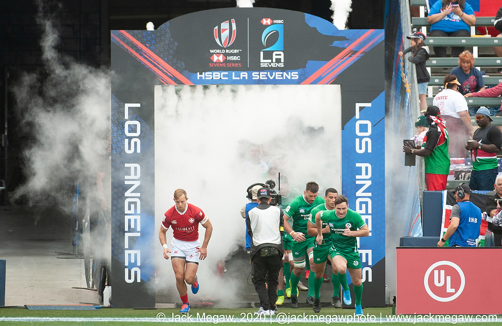M05 - Ireland and Canada compete in the group stages of the 2020 Los Angeles Sevens at Dignity Sports Health Park in Los Angeles, California. February 29, 2019. <br /> <br /> © Jack Megaw, 2020