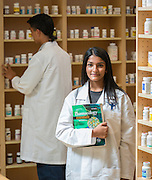 Jane Long Futures Academy student Kinza Rizwan poses for a photograph at the Houston Community College Coleman College for Health Sciences pharmacy technology labs, October 16, 2014.