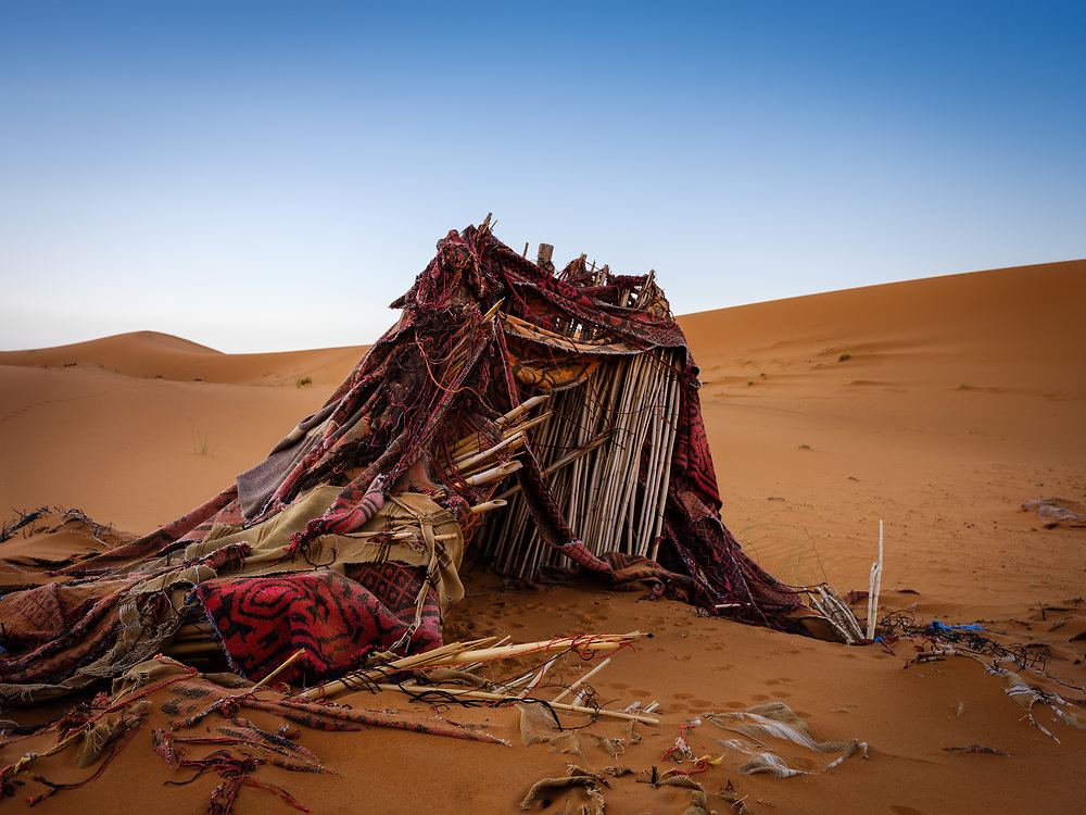 MEKNES - TAFILALET, MOROCCO - CIRCA APRIL 2017: Abandoned berber tents in the Sahara Desert