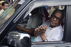 May 25, 2019 - Kolkata, West Bengal, India - Trinamool Congress or TMC winning candidate from Kanthi Lok Sabha constituency Sisir Adhikari greets during a TMC meeting at Chief Minister residence. (Credit Image: © Saikat Paul/Pacific Press via ZUMA Wire)