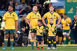 August 18, 2018 - Sydney, NSW, U.S. - SYDNEY, AUSTRALIA - AUGUST 18: Australian team stand for the national anthem at the Bledisloe Cup rugby test match between Australia and New Zealand on August 18, 2018, at ANZ Stadium in Sydney, Australia. (Photo by Speed Media/Icon Sportswire) (Credit Image: © Speed Media/Icon SMI via ZUMA Press)