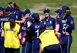 Danielle Wyatt of England celebrates with teammates after running out Trisha Chetty of South Africa Women - Mandatory by-line: Robbie Stephenson/JMP - 05/07/2017 - CRICKET - County Ground - Bristol, United Kingdom - England Women v South Africa Women - ICC Women's World Cup Group Stage
