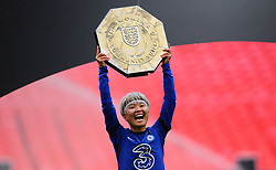 Ji So-Yun of Chelsea Women lifts the FA Women's Community Shield  - Mandatory by-line: Nizaam Jones/JMP - 29/08/2020 - FOOTBALL - Wembley Stadium - London, England - Chelsea v Manchester City - FA Women's Community Shield