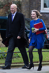 London, UK. 8th January, 2019. Chris Grayling MP, Secretary of State for Transport, and Liz Truss MP, Chief Secretary to the Treasury, arrive at 10 Downing Street for the first Cabinet meeting since the Christmas recess.