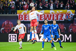 LEIPZIG, Feb. 26, 2019  Leipzig's Yussuf Poulsen (Top) heads for the ball during a German Bundesliga match between RB Leipzig and TSG 1899 Hoffenheim in Leipzig, Germany, on Feb. 25, 2019. The match ended in a 1-1 draw. (Credit Image: © Kevin Voigt/Xinhua via ZUMA Wire)