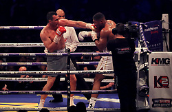 Anthony Joshua in action against Wladimir Klitschko during their IBF, WBA and IBO Heavyweight World Title bout at Wembley Stadium, London.