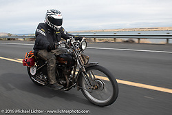 Todd Cameron riding his JDH Harley-Davidson hotrod in the  Motorcycle Cannonball coast to coast vintage run. Stage 14 (303 miles) from Spokane, WA to The Dalles, OR. Saturday September 22, 2018. Photography ©2018 Michael Lichter.