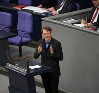 DEU, Deutschland, Germany, Berlin, 20.03.2014: <br />Karl Lauterbach (MdB, SPD) während seiner Rede zur Haftpflichtproblematik der Hebammen im Plenarsaal des Deutschen Bundestags.
