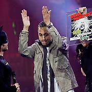NLD/Amsterdam/20100415 - Uitreiking 3FM Awards 2010, Giel Beelen, Rapper Unorthodox en Trijntje Oosterhuis