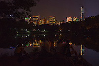 Central Park Lake. New York Skyline. Lady's Pavilion. <br /> <br /> (Photo by Robert Caplin)