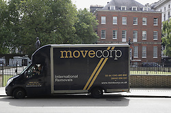 © Licensed to London News Pictures. 13/07/2016. London, UK. On the day that will see Theresa May installed as Prime Minister a removals van is seen at the back of Downing Street.  seePhoto credit: Peter Macdiarmid/LNP