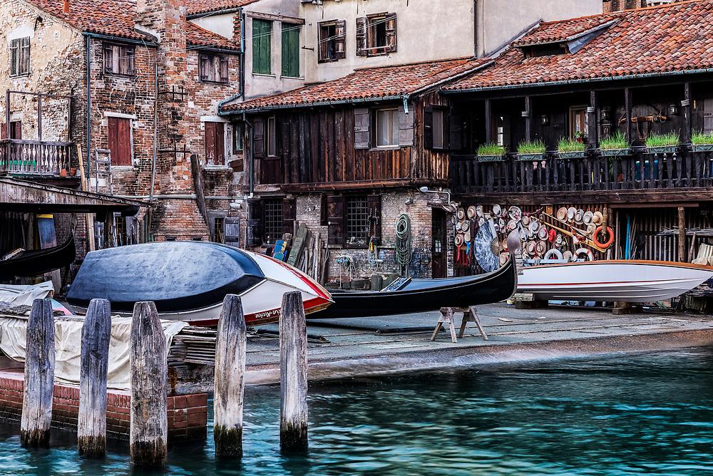 The squero di San Trovaso gondola boatyard, Venice, Italy