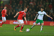 Jonathan Williams of Wales in action. Wales v Northern Ireland, International football friendly match at the Cardiff City Stadium in Cardiff, South Wales on Thursday 24th March 2016. The teams are preparing for this summer's Euro 2016 tournament.     pic by  Andrew Orchard, Andrew Orchard sports photography.