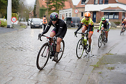 Tiffany Cromwell (CANYON//SRAM Racing) leads the escapees on the final lap at the 112.8 km Le Samyn des Dames on March 1st 2017, from Quaregnon to Dour, Belgium. (Photo by Sean Robinson/Velofocus)