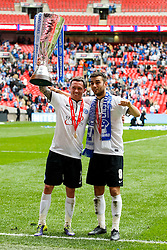 Peterborough Midfielder Danny Swanson (SCO) and Midfielder Jack Payne (ENG) celebrate wioth the trophy after a 3-1 win - Photo mandatory by-line: Rogan Thomson/JMP - 07966 386802 - 30/03/2014 - SPORT - FOOTBALL - Wembley Stadium, London - Chesterfield FC v Peterborough United - Johnstone's Paint Trophy Final.