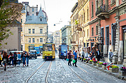 Ukraine, Lviv, Commuter Trolley, Medieval Cobblestone Streets, Lviv Survived Soviet And German Occupations Unscathed During World War II, Lviv Is One Of The Main Cultural Centers Of Ukraine, UNESCO World Heritage Site
