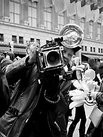 Legendary New York City street photographer Louis Mendes at the Easter Parade on Fifth Avenue.