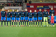 France line up as the national anthems are played before the International Friendly match between England Women and France Women at the Keepmoat Stadium, Doncaster, England on 21 October 2016. Photo by Mark P Doherty.