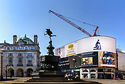 Piccadilly Circus, deserted during the Coronavirus pandemic on 23th April 2020 in London, United Kingdom. The government clampdown includes the closure of most shops, bars and theatres throughout the country.