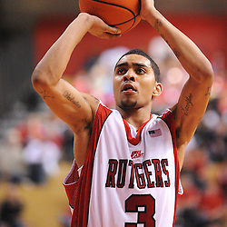 Feb 22, 2009; Piscataway, NJ, USA; Rutgers guard Mike Rosario (3) takes a free throw during the second half of Rutgers' 74-56 loss to West Virginia at the Louis Brown Athletic Center.