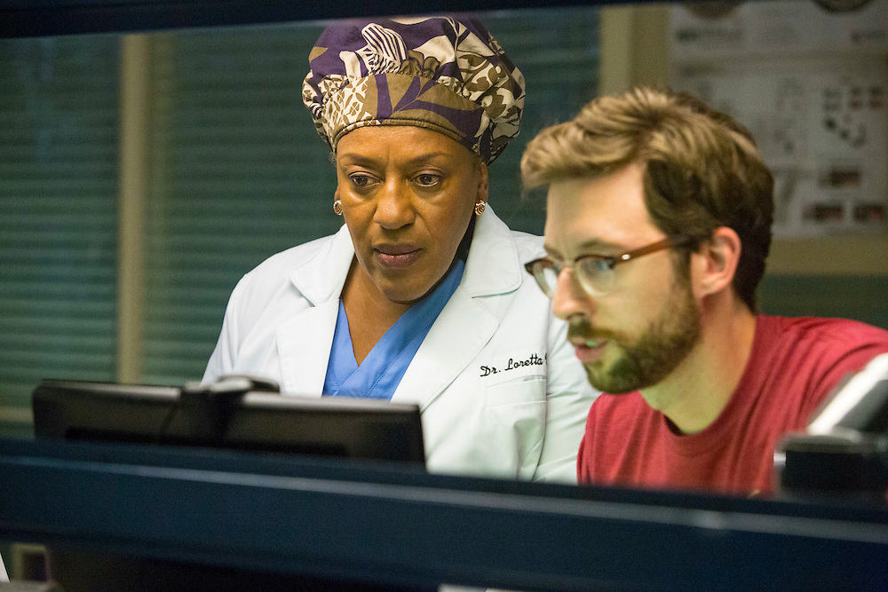 """CCH Pounder as Dr. Loretta Wade and Rob Kerkovich as Sebastian Lund in CBS's """"NCIS: New Orleans"""" Season 1"""