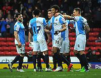 GOAL CELEBRATION - Blackburn Rovers' Rudy Gestede (centre) celebrates scoring his sides second goal <br /> <br /> Photographer Kevin Barnes/CameraSport<br /> <br /> Football - The FA Cup Fifth Round - Blackburn Rovers v Stoke City - Saturday 14th February 2015 -  Ewood Park - Blackburn<br /> <br /> © CameraSport - 43 Linden Ave. Countesthorpe. Leicester. England. LE8 5PG - Tel: +44 (0) 116 277 4147 - admin@camerasport.com - www.camerasport.com