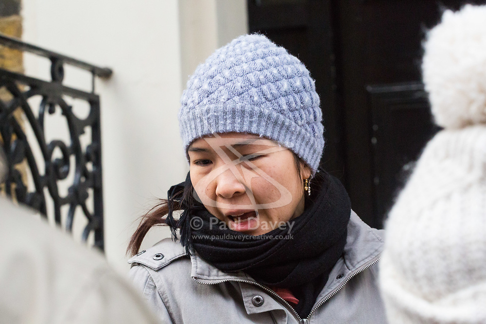 Jessica Lemaitre, 35, a neighbour who knew the victim, speaks to the press outside her home after a fire in a flat on the first floor of a converted house claims the life of a man and his dog in Holland Park, West London. February 07 2018.