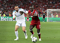 KIEV, UKRAINE - MAY 26: Dani Carvajal of Real Madrid competes with Sadio Mane of Liverpool during the UEFA Champions League final between Real Madrid and Liverpool at NSC Olimpiyskiy Stadium on May 26, 2018 in Kiev, Ukraine. (MB Media)