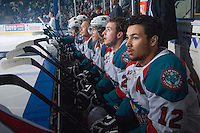 KELOWNA, CANADA - APRIL 25: Tyrell Goulbourne #12 of the Kelowna Rockets sits on the bench at the start of the game against the Portland Winterhawks on April 25, 2014 during Game 5 of the third round of WHL Playoffs at Prospera Place in Kelowna, British Columbia, Canada. The Portland Winterhawks won 7 - 3 and took the Western Conference Championship for the fourth year in a row earning them a place in the WHL final.  (Photo by Marissa Baecker/Getty Images)  *** Local Caption *** Tyrell Goulbourne;