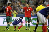 FOOTBALL - UEFA EURO 2012 - QUALIFYING - GROUP D - FRANCE v BELARUS - 3/09/2010 - PHOTO JEAN MARIE HERVIO / DPPI - DESPAIR MATHIEU VALBUENA (FRA) / JOY SERGEI KISLYAK (BIE)