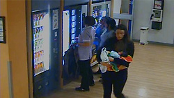 © London News Pictures. CCTV stills  showing missing person Charlotte Bevan leaving Bristol Maternity Hospital with four day old Zarnee Teanna at around 8:45pm on Tuesday night. Neither mother or daughter has been seen since. Photo credit: LNP