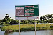 Danger sign warning of crocodiles, Pasikudah Bay, Eastern Province, Sri Lanka, Asia