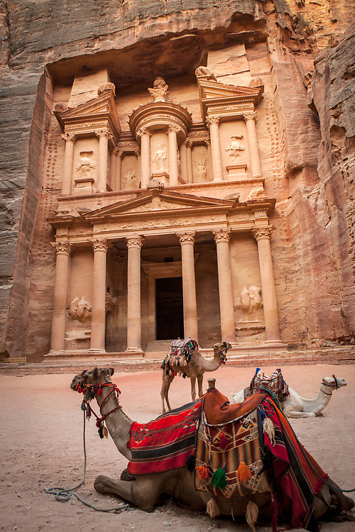 "One of the ""Seven Wonders of the World"" Al-Khazneh or The Treasury with camels, Petra, Jordan"