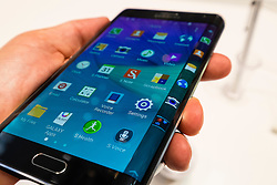 New Samsung Galaxy Note 4 tablet/phone (or phablet ) with curved display at launch at IFA 2014 consumer electronics show in Berlin