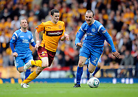 Football - Scottish Cup Semi-Final - Motherwell vs. St. Johnstone.<br /> Jamie Murphy (Motherwell) gets away from David Mackay (St Johnstone) at Hampden Park
