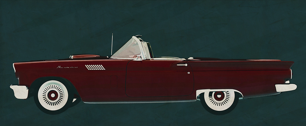 By bringing this painting by Ford Thunderbird Convertible from 1957 in the house brings it back to the 50's. This Ford Thunderbird breathes the American culture that characterizes this time and for or opponents will have in common that there is pure nostalgia of this Ford Thunderbird Convertible from 1957.<br />