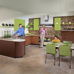Stuart Kitchen modern kitchen with mother husband and son green cabinets