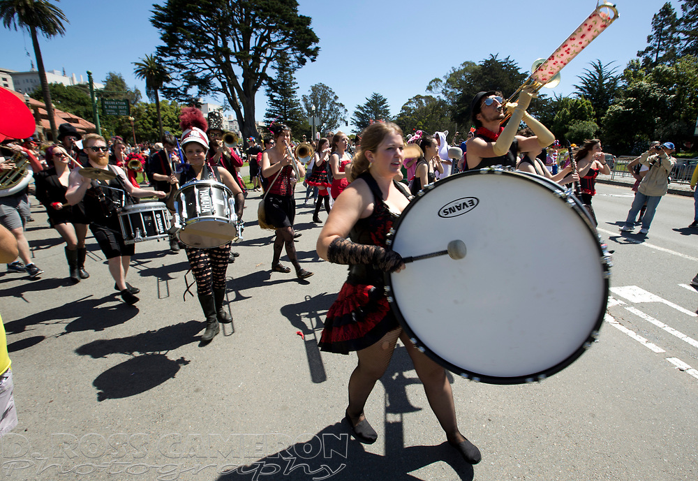 Members of the Burlesque Band of San Francisco march through Golden Gate Park, during the 105th running of the Bay to Breakers 12k, Sunday, May 15, 2016 in San Francisco. The 7.42-mile race from San Francisco Bay to the Pacific Ocean, which attracts a field of tens of thousands of runners, from elite runners to weekend warriors, some clad in costume and some in nothing at all. (Photo by D. Ross Cameron)