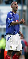 Fotball<br /> Premier League England 2004/2005<br /> Foto: SBI/Digitalsport<br /> NORWAY ONLY<br /> <br /> 30.10.2004<br /> Portsmouth v Manchester United<br /> <br /> Portsmouth's    Nigel Quashie celebrates his team's win against Manchester United.