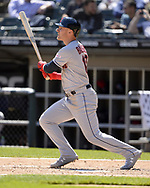 CHICAGO - MAY 14:  Jake Bauers #10 of the Cleveland Indians bats against the Chicago White Sox on May 14, 2019 at Guaranteed Rate Field in Chicago, Illinois.  (Photo by Ron Vesely)  Subject:  Jake Bauers