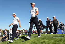 Team Europe's Thorbjorn Olesen and Team Europe's Henrik Stenson during preview day three of the Ryder Cup at Le Golf National, Saint-Quentin-en-Yvelines, Paris.