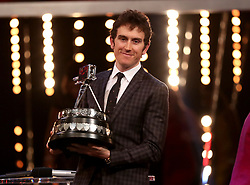 Geraint Thomas poses with the BBC Sports Personality of the Year award during the BBC Sports Personality of the Year 2018 at Birmingham Genting Arena.
