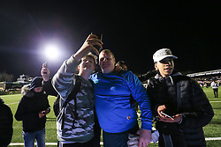 20 February 2017 - The FA Cup - (5th Round) - Sutton United v Arsenal - Sutton United reserve goalkeeper Wayne Shaw poses for a selfie with fans - Photo: Marc Atkins / Offside.