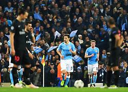 Kevin De Bruyne of Manchester City celebrates after scoring his sides first goal  - Mandatory byline: Matt McNulty/JMP - 07966386802 - 12/04/2016 - FOOTBALL - Etihad Stadium -Manchester,England - Manchester City v Paris Saint-Germain - UEFA Champions League - Quarter Final Second Leg